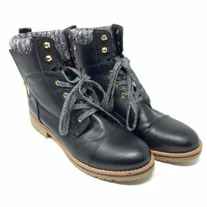 Tommy Hilfiger Black Lace Up Combat Moto Boots